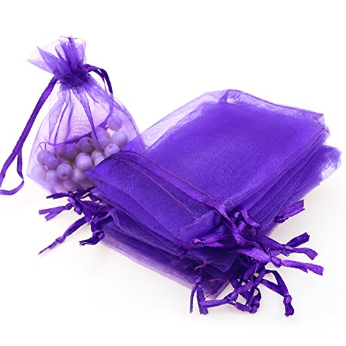 "AKStore 100PCS 4x6"" (10x15cm) Drawstring Organza Jewelry Favor Pouches Wedding Party Festival Gift Bags Candy Bags (Purple)"