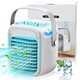 Small Mobile Portable Air Conditioner Cooler Desk Fan Noiseless Evaporative Air Cooling Rechargeable, 3Speeds 7LED, Office Humidifier&Purifier Home/Dorm