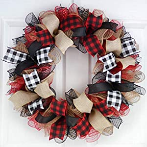 Buffalo Plaid Check Wreath – Front Door Outdoor Mesh Christmas Decor- White Red Black Burlap