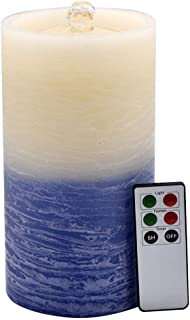 NIGHTKEY Dancing Water Wick Fountain LED Rechargeable Real Wax Flameless Pillar Candle with Remote Control and 5 Hour Timer, Gradual Blue, Flat top(1 pc)