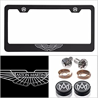 UFRAME Fit Aston Martin Laser Engraved Logo License Plate Frame Made of Industrial Grade Powder Coated Black Matte Black Stainless Steel w/Caps and Accessories