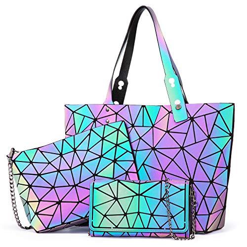 LOVEVOOK Geometrische Handtasche Set Damen, Holographic Taschen, 3pcs Henkeltasche Umhängetasche Geldbörse, Leuchtende Schultertasche Shopper Damenhandtasche