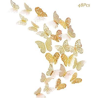 Creatiee 48Pcs Butterfly Decorations, 3D Wall Decals Metallic Art Sticker, DIY/Handmade/Removable/Pressure Resistance Paper Murals Gift for Home Kids Bedroom Nursey Party Décor