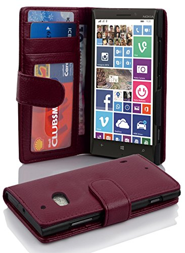 Cadorabo Hülle für Nokia Lumia 929/930 - Hülle in Bordeaux LILA – Handyhülle mit 3 Kartenfächern - Case Cover Schutzhülle Etui Tasche Book Klapp Style