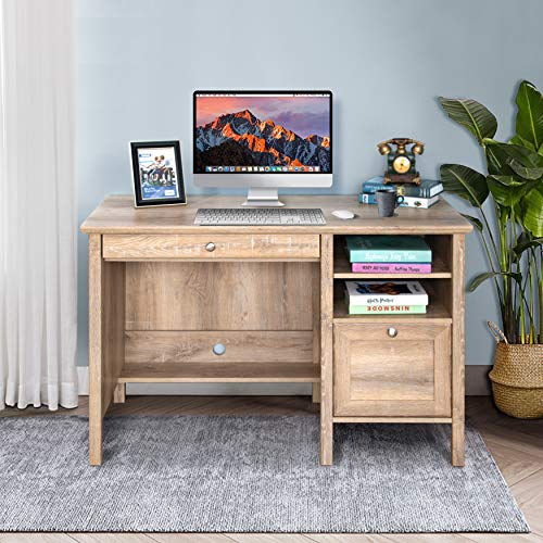 Crestlive Products Writing Computer Desk with Keyboard Tray, Drawer & Shelves, Home Office Furniture, PC Laptop Table, Modern Study Workstation Wooden Mission Vanity Desk for Small Space (Oak)