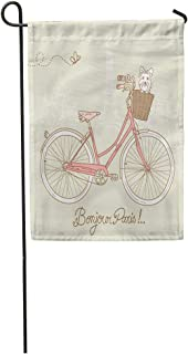 Semtomn Garden Flag Pink Cute Riding Bike in Romantic from Paris Dog 28