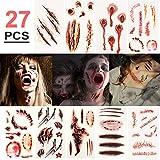 Halloween Temporäre Tattoos (27 Blatt) - Realistisch Halloween Narben Wunden Tattoos Zombie...