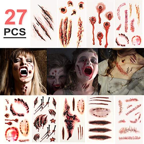 Halloween Temporäre Tattoos (27 Blatt) - Realistisch Halloween Narben Wunden Tattoos Zombie Schminke Scars Tattoo, Gefälschter Scab Blut Kratzer Aufkleber für Halloween Kostüm Makeup und Cosplay