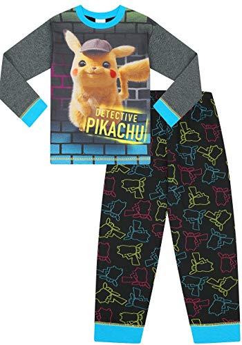 The PyjamaFactory - Pijama largo de Detective Pikachu para niños de 6 a 13 años Azul azul 11-12 Años