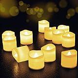 Velas de LED 12 Pcs, FOCHEA Velas Eléctricas sin Llama con Mando para Bodas Decoración, Navidad, San Valentín, Cumpleaños, Fiestas (Blanco Cálido)
