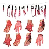 Bloody Weapon Garland Banner Halloween Decorations - Bloody Broken Body Parts for Haunted House Halloween Zombie Vampire Party Decorations Supplies(12 Pcs Weapons+6Pcs Body Parts)