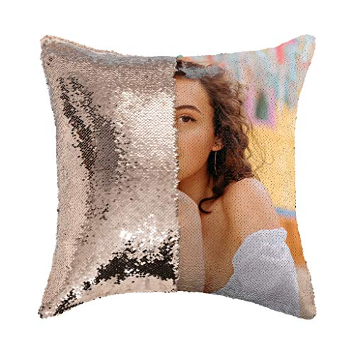 OKBubble Custom Reversible Sequin Pillowcase Funny with Picture Photo Names 18X18, Personalized Throw Cushion Covers (Pillow case Gift) Decorative Standard Size