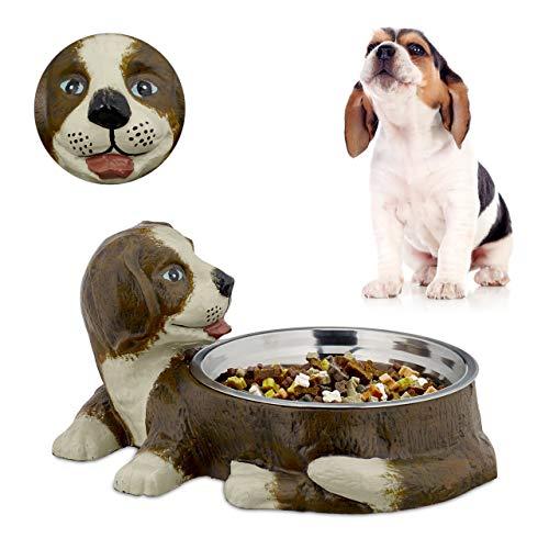Relaxdays hondenmand gietijzeren figuur, middelgrote honden, 1 L roestvrij stalen nap, naafstandaard, HBT 17,5 x 32,5 x 24,5 cm, bruin, 1 stuk