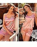 Conjunto de Pijama Mujer Verano Corta Super Cómoda y Suave, Ropa de Dormir Transpirable para Dormir Tranquila S-XL