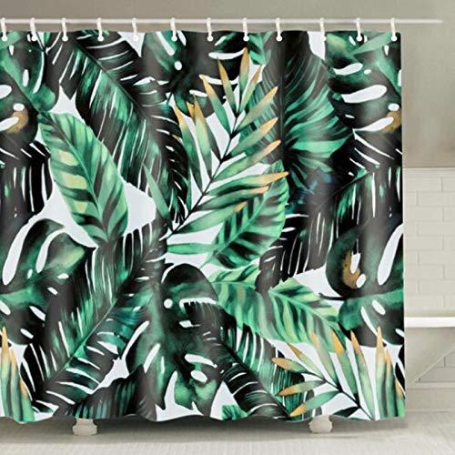 LEELFD Grüne Topfpflanzen Duschvorhang für Badezimmer Wasserdichter Druck Kaktus Sukkulenten Badevorhang mit 12 Haken Schimmelschutz 220x240cm L.