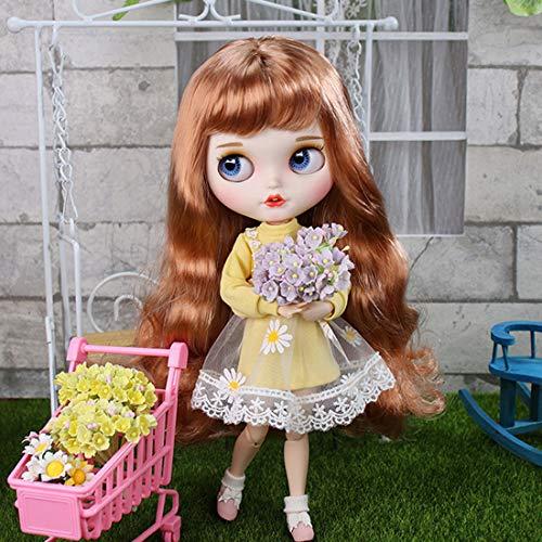 HYZM Blythe Doll 1/6, 19 Joints Blythe Puppe Body + Make-up Gesicht + Vollständige Kleidung + 4 Farben Augen + 9 Paar Hände, Kumquat Farbe lockiges Haar