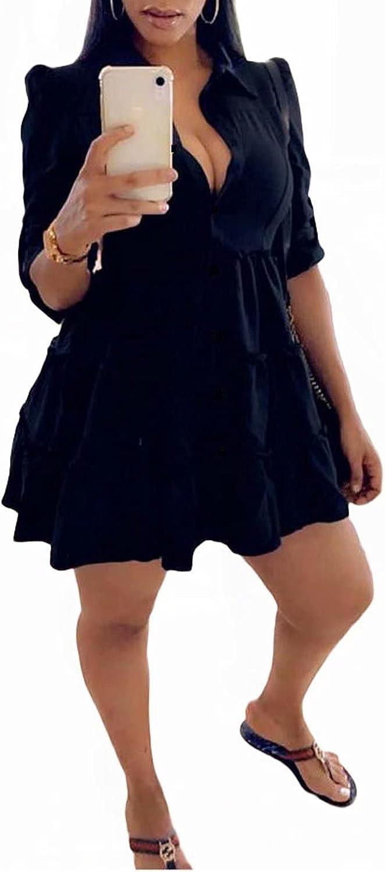 Aro Lora Womens Sexy V Neck Button Down Turn Down Collar Ruffle Skater Mini Shirt Dress
