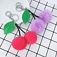 Xi-Yu PUぬいぐるみキーリングペンダント女性のバッグカーアクセサリー小さな贈り物キーチェーン新しいフルーツの桜の形状毛皮で覆われたボール (Color : Purple)