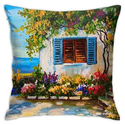 YUNYANG Pintura al óleo sobre lienzo de una hermosa casa cerca del mar abstracto dibujo funda de almohada, impresión de doble cara, cremallera oculta P.