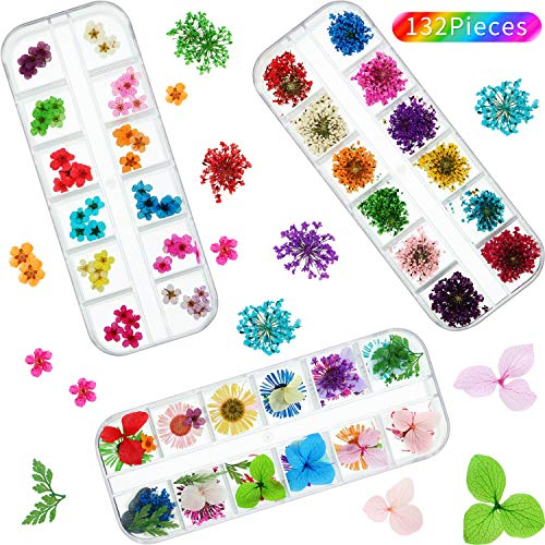 Nail Dried Flower 132 Pieces Dried Flower Nail Art 3D Nail Applique Nail Art Accessory for Nail Decor (Starry Daisy and Five Flower)