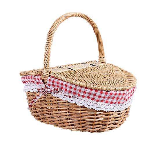 Senmubery Wicker Picknick Korb im Land Haus Stil mit Deckel und Griff & Liner für Picknicks, Partys und Grill Abende