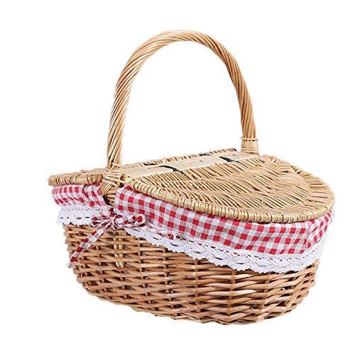 Timagebreze Country Style Wicker Picnic Basket Hamper with Lid and Handle & Liners for Picnics, Parties and BBQs