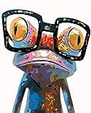 Toudorp Kit de Pintura de Bricolaje por números, Pintura de Animales de Colores por números sobre Lienzo, Pintura acrílica de Bricolaje de 16 x 20 Pulgadas, Rana Colorida sin Marco