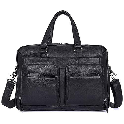 J.M.D Genuine Leather Laptop Bag Men's Black Briefcase Handbag Shoulder Messenger Bag Business Bag