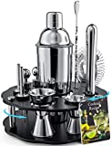 Bokhot Bartender Kit, 14 Piece Cocktail Shaker Set Stainless Steel Bar Tools with Rotating Stand, Shaker Tins, Jigger, Spoon, Pourers, Muddler, Strainer, Tongs, Bottle Stoppers, Opener, Stand, Recipes