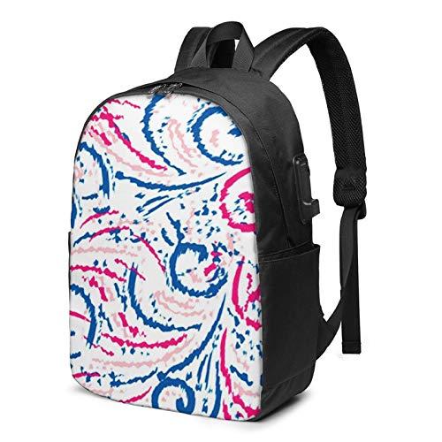 WEQDUJG Mochila Portatil 17 Pulgadas Mochila Hombre Mujer con Puerto USB, Accesorio Decorativo Azteca Mochila para El Laptop para Ordenador del Trabajo Viaje