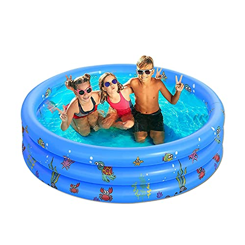 Paddling Pools for Kids, Inflatable Baby Swimming Pool, 3 Ring Paddling Pool with Inflatable Safety Bubble Floor, Small Paddling Swimming Pools for Toddlers Gardens Backyard, Blue/100*40cm