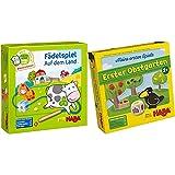 Haba 5580 - Meine erste Spielwelt Bauernhof Fädelspiel auf dem Land & 4655 - Meine ersten Spiele Erster Obstgarten, unterhaltsames Brettspiel rund um Farben und Formen ab 2 Jahren