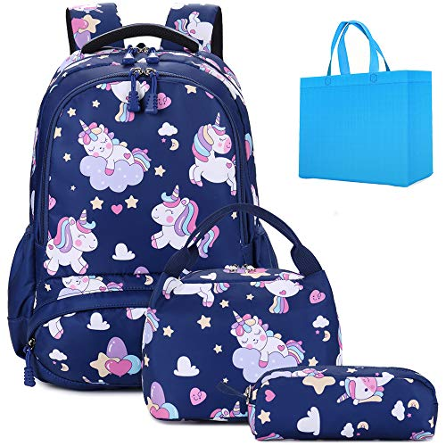 Girls Backpack for School Cute Unicorn Backpack Sets 3 in 1 Kids Backpack School Bags for Girls with Lunch Bag Pencil Pouch Dark Blue