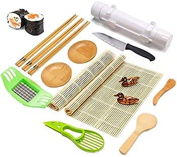 Aebor Sushi Making Kit,Bamboo Sushi Roller Mat,DIY Sushi Roller Machine with Natural Bamboo Rolling Mat,Sushi Knife,Bamboo Chopsticks,Chopsticks Holder,Sauce Dish,Bazooka-White,15 Pcs