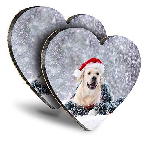 Destination Vinyl ltd Great Posavasos (juego de 2) corazón – Papá Noel Labrador perro invierno bebida Navidad brillante posavasos / protección de mesa para cualquier tipo de mesa #46276