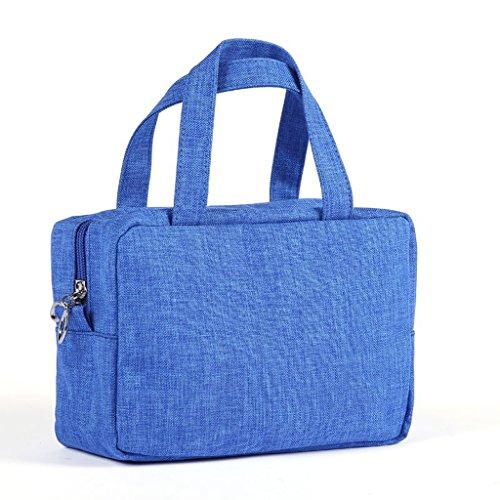 Lady portable grande capacité portable sac cosmétique voyage simple et polyvalent petit sac de lavage étanche sac de rangement,Blue