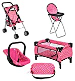 fash n kolor 4 Piece Doll Play Set, Includes - 1 Pack N Play. 2 Doll Stroller 3.Doll High Chair. 4.Infant Seat, Fits Up to 18'' Doll (4 Piece Set)