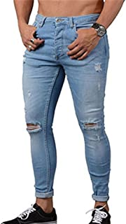 Yying Hombre Vaqueros Largo - Straight Fit Cremallera Casual Jeans Rotos Moda Moda Talle Bajo Slim Fit Denim Pantalones