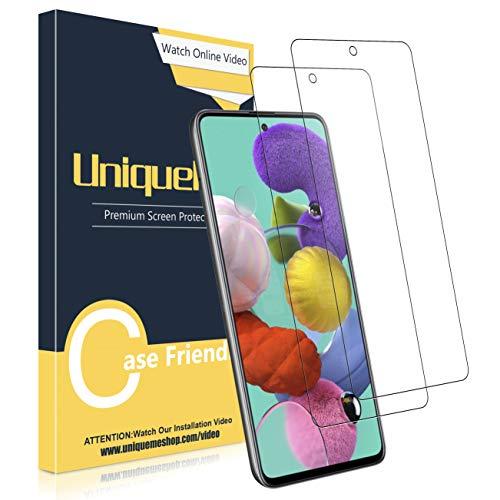 UniqueMe [2 Stück] Schutzfolie für Samsung Galaxy A51 Panzerglas, HD klar gehärtetes Glas Displayschutz [9H Härte Folie] [Anti-Fingerabdruck] Anti-Bläschen Displayschutzfolie