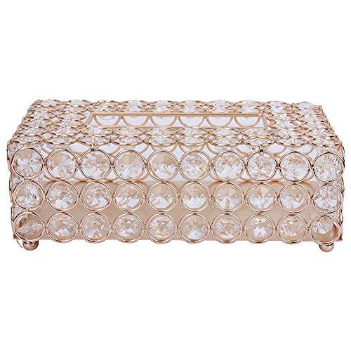 DIAK Cubierta de Caja de pañuelos Rectangular, Soporte Decorativo de Cristal, servilletero, Caja de Papel Toliet, contenedor de Papel de Cristal