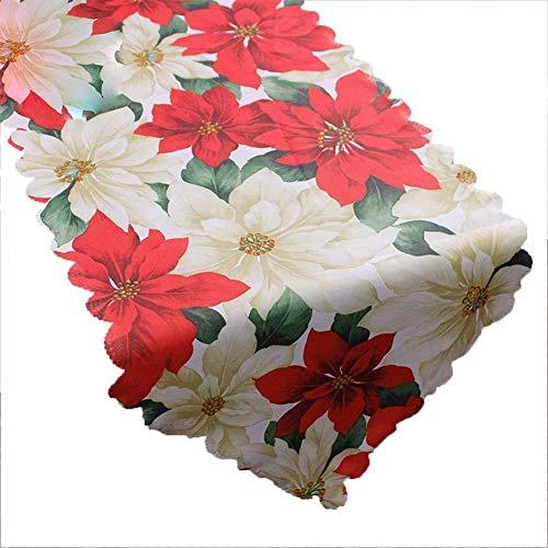 Depory Corredor Mesa de Navidad Camino de Mesa de Boda Mantel Banner de Hogar Decoración Size 180×36CM (Flor)