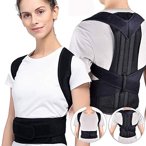 Back Brace Posture Corrector Back and Shoulder Support Clavicle Support Back Straightener Brace Trainer for Lower and Upper Back Pain Relief Improves Postures (L)