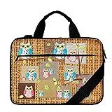 Luxburg® gepolsterte Business- / Laptoptasche Notebooktasche bis 17,3 Zoll mit Schultergurt, Mehrzwecktasche, Motiv: Eule
