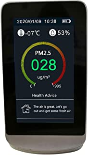 Skysun 空気汚染測定器 空気品質モニター 室内空気汚染メーター マイクロダスト検出器 ホルムアルデヒ ドアナライザー 温度湿度センサー PM2.5 PM10 PM1.0 CO2 HCHO TVOC AQI温度とハム 時計 レコード表示 電力表示