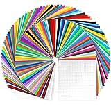 Cricut Vinyl 96 Set, Ohuhu 84 hojas de vinilo de 30x30cm + 12 hojas de transferencia, envoltura de vinilo adhesivo permanente de 40 colores, para coche, decoración de fiesta, pegatina