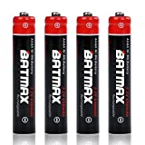 4X AAAA Battery Batmax Rechargeable Ni-Mh for Surface Pen Active Stylus Streamlight Stylus Lights Watch LED Flashlight Mini Fan and More Devices