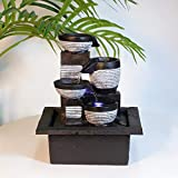 Ferrisland 4-Tier Tabletop Fountain Cascading Flowing Water Blows Zen LED Lighted Waterfall Soothing Relaxation Zen Meditation Ambient Office Home Décor