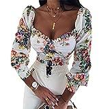 CropWhitzard - Top da donna a maniche lunghe, motivo floreale, elegante, in pizzo Bianco + fiore rosso M