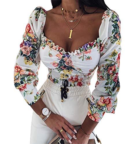 I3CKIZCE Bluse Camicia Maglietta Top Donna a Maniche Lunghe Elastico Stampa Floreale Scollo Quadrato Elegante Crop Top Quotidiano Casual Sexy Chic Moda Vintage (Bianco, XL)