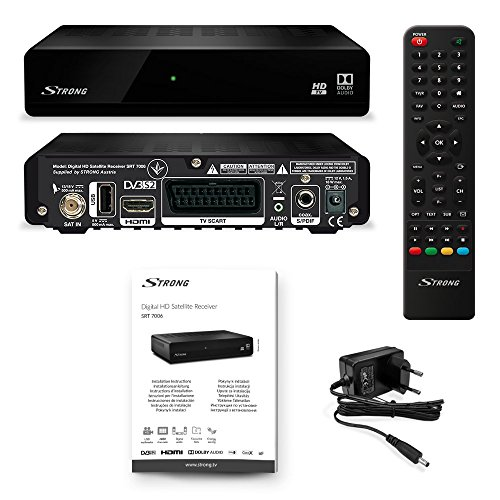 Strong SRT 7006 - Ricevitore satellitare TV HD Free-To-Air (HDTV, DVB-S2, Media Player, USB, HDMI), Nero